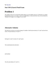 Stat 5101, Fall 1999 (Geyer) Final Exam Solutions