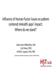 108_DEF Influence of Human Factor issues on mHealth impact pres GAWildenbos