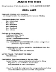 COOL JAZZ CLASS NOTES