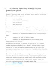 Developing a planning strategy for your persuasive speech.docx