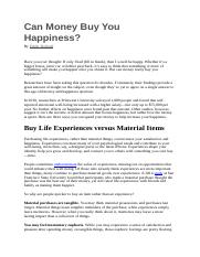 Argumentative article - Can Money Buy You Happiness.docx