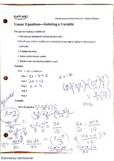 linear equations- isolating a variable