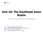 Unit 10-The Southeast Asian Realm
