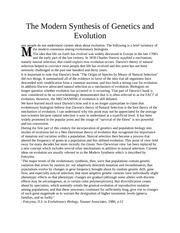 The Modern Synthesis of Genetics and Evolution