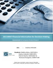 ACC10007 Financial Information for Decision Making.docx