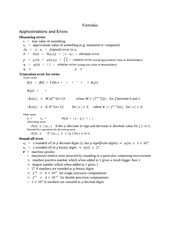 Formulas for Course