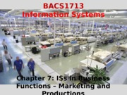 Chapter 7 ISs in Business Functions - Marketing and Productions