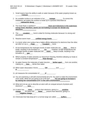 Nature of Molecules and Water properties Worksheet 1 Answer Key  BIO 1510 SS 13 Zwolinski SI