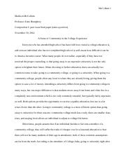 Final paper (take a position, peer issue)
