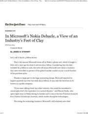 In Microsoft's Nokia Debacle, a View of an Industry's Feet of Clay - The New York Times