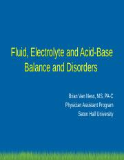 Fluid and Electrolyte Balance, Seton Hall Fall