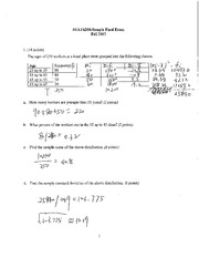 Stats 250- Sample Final Exam