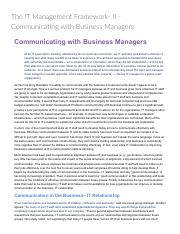 The IT Management Framework- II - Communicating with Business Managers_ Technology Management & Digi