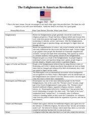 The Enlightenment & American Revolution Term Sheet