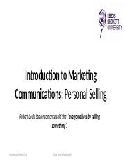 Personal Selling Presentation (Taylor Parkin)