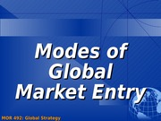 Modes of Foreign Market Entry