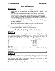 Business Finance - ACC501 Spring 2005 Assignment 05