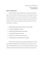 Whole Foods Case Study Analysis