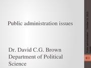 PSCI 2401A - Week 6 - Public administration issues - 2013-10-15