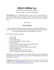 CHILD CAREer Inc