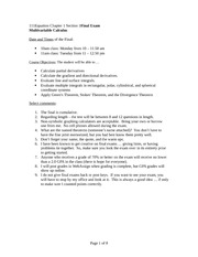 Test 4 Review Spring 2014 on Multivariable Calculus