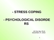 Lecture 9-Stress  Disorders