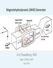 MHD Generators pdf - Magnetohydrodynamic(MHD Generator A H