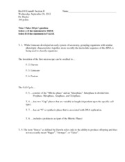 Bio100 EXAM#1 Student Edition With KEY