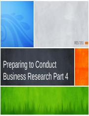 Preparing to Conduct Business Research PPT