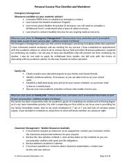 Personal Success Plan Checklist and Worksheet