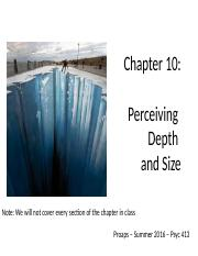 Chapter 10- Perception & Depth Size