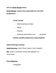 Intro to Garde Manger Notes