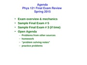 Final Exam Review Phys121