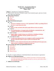 Organizational Behavior Study Guide