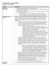 Chronic Illness Case Study Rubric
