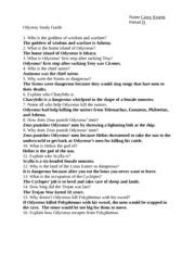odysseus study guide name casey kearns period d odyssey study rh coursehero com odyssey study guide answer key google docs odyssey study guide answer key