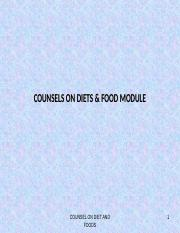 COUNSELS ON DIETS & FOOD MODULE