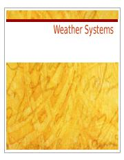 Lecture 5- Weather Systems