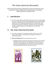 Asain American Movement Lecture Notes