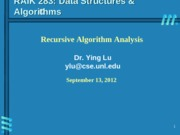 Lecture topic-AnalysisRecursiveAlgorithm