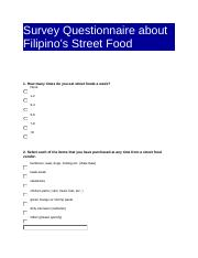 Filipino s Street Food Questionnaire docxcx