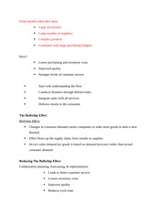 The Bullwhip Effect Class Notes
