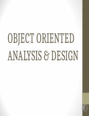 Week 10- Object Oriented Analysis & Design (OOA&D)