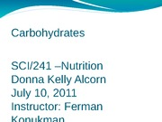 DA4004 Carbohydrates PowerPoint Wk 3 Assignment