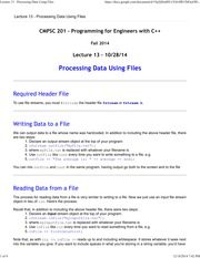 Lecture 13 - Processing Data Using Files