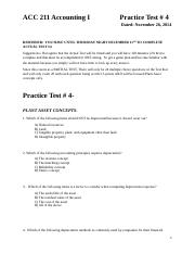 ACC 211 Practice Test 4_Fall 2014   Plant Assets ONLY