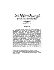 Fiscal Deficits and Government Debt in India Implications for growth and stabilisation - C Rangaraja