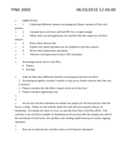 FINA 3000 Test 3 Class Notes