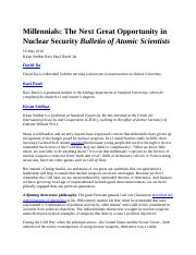 International Security Millennials Next Great Opportunity in Nuclear Security BAS May 2016.docx