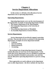 Service Department Allocations